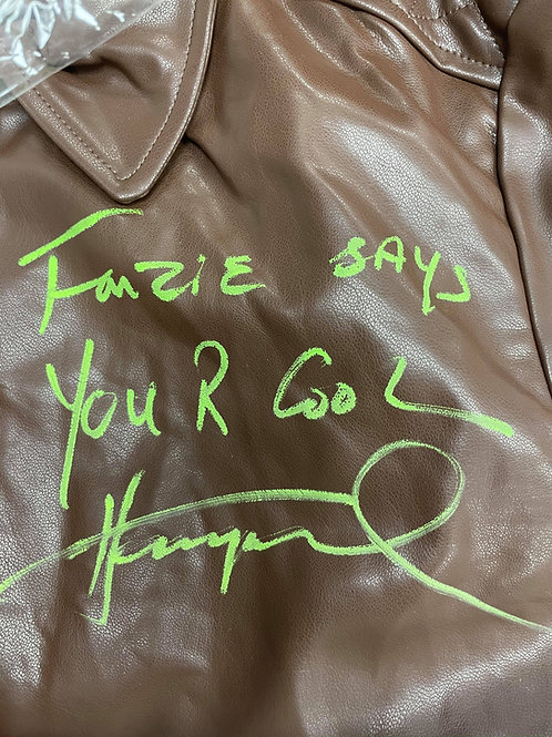 Fonzie Says You R Cool Authentic Fonzie Leather Jacket Signed By Henry Winkler