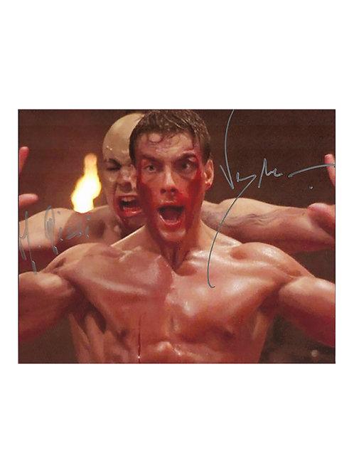 10x8 Kickboxer Print Signed by JCVD Jean-Claude Van Damme & Michel Qissi