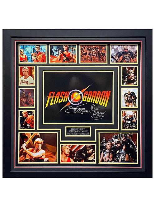 Framed LED Lit Flash Gordon Print Signed By Sam J Jones & Brian Blessed