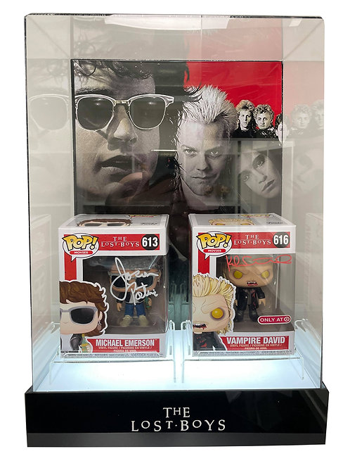 Double Lost Boys Funko Pops in Lit Display Case Signed by Sutherland and Patric
