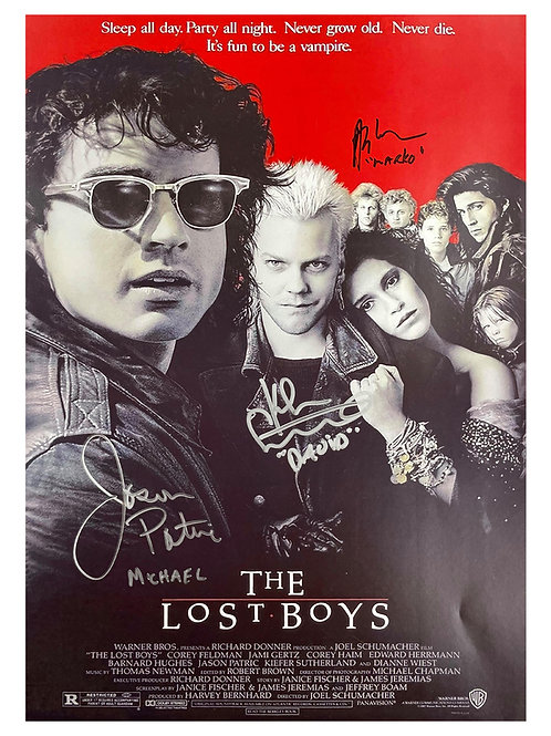 A3 The Lost Boys Poster Triple Signed by Sutherland, Patric & Winter