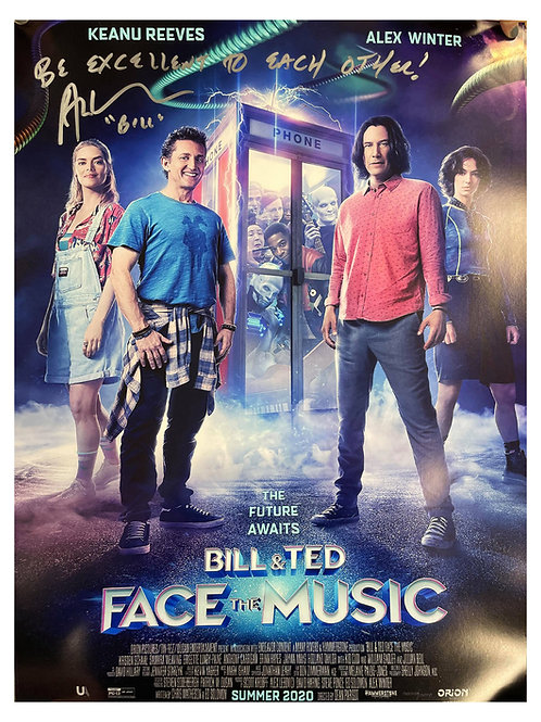A2 Bill & Ted Face the Music Poster Signed by Alex Winter