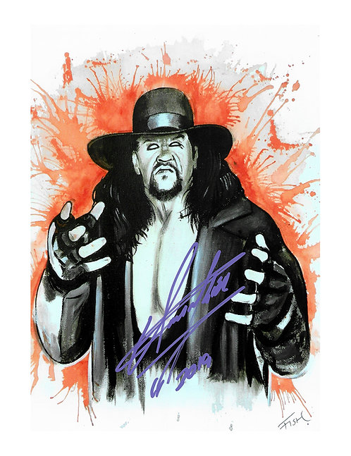 8x12 Art Print Signed by Wrestling Superstar Mark Calaway aka The Undertaker