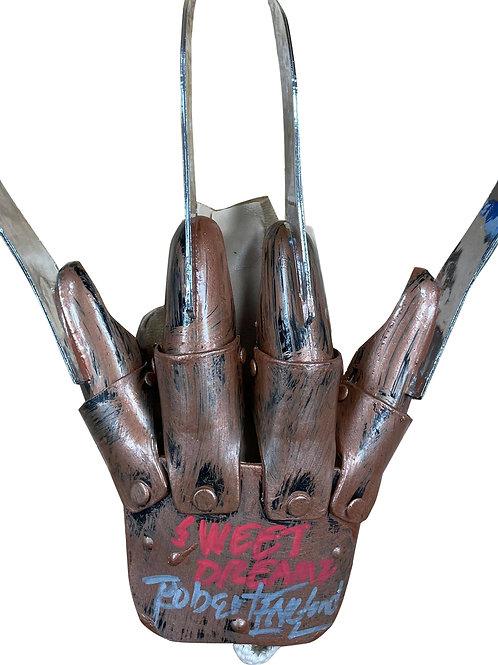 Freddy Krueger Plastic Glove Sweet Dreams Red & Blue Signed by Robert Englund