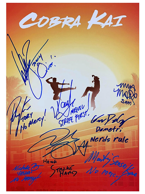 A3 Cobra Kai Poster Signed by 8 Cast Members
