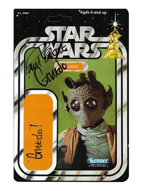 Greedo Star Wars Rare Kenner Figure Backer Signed By Paul Blake
