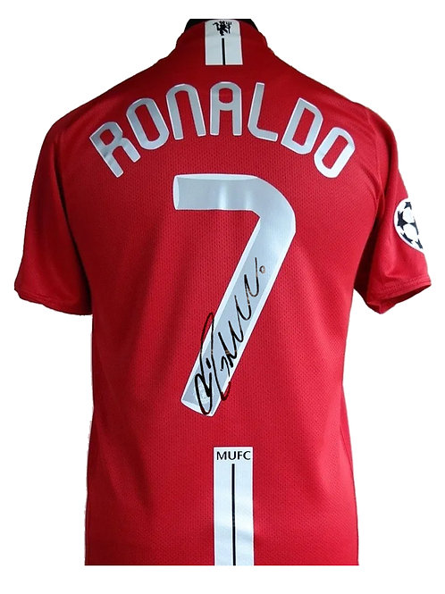 Manchester United 2008 Champions League Shirt Signed By Cristiano Ronaldo