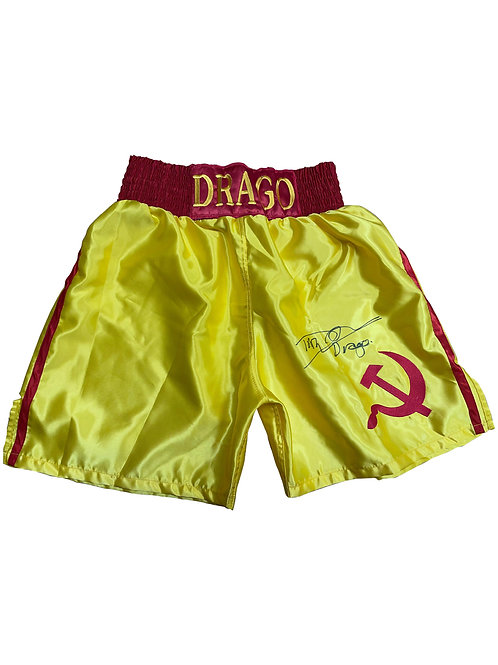 Gold Ivan Drago Boxing Shorts Signed by Dolph Lundgren