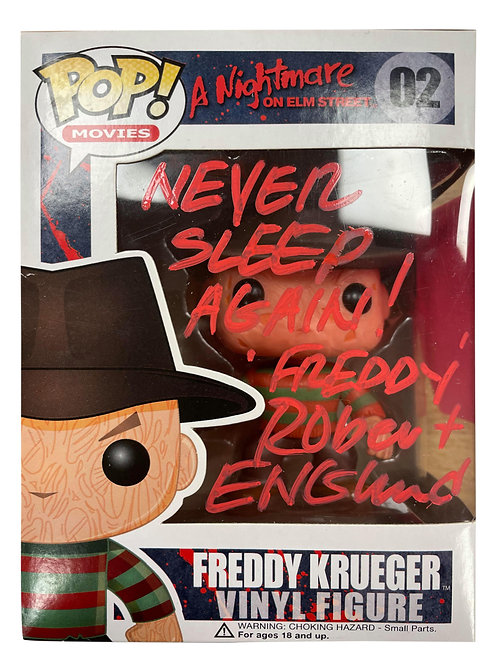 Freddy Krueger Funko Pop Never Sleep Again Signed by Robert Englund