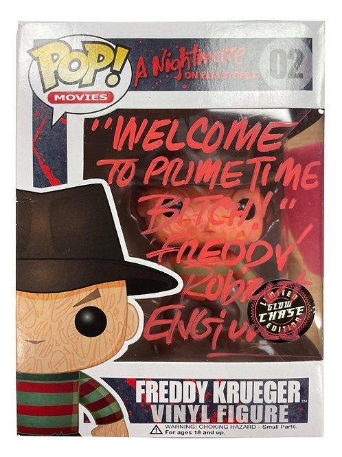Freddy Krueger Funko Pop With Quote Signed by Robert Englund
