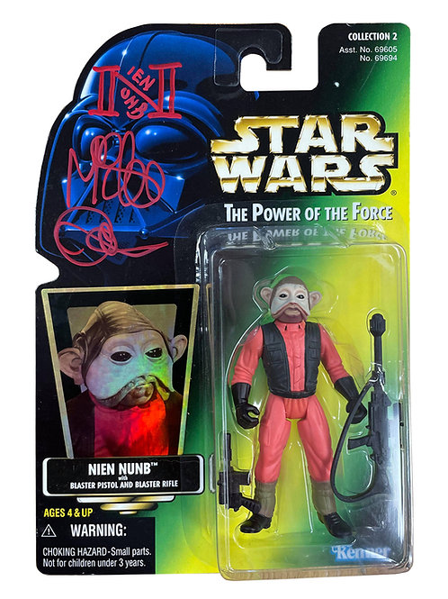 Star Wars Power Of The Force Nien Nunb Action Figure Signed By Mike Quinn
