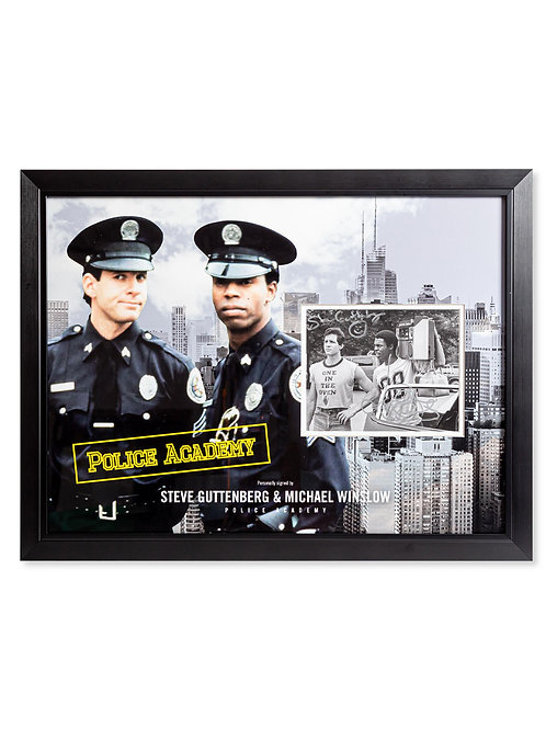 Police Academy Framed Print Signed by Steve Guttenberg and Michael Winslow