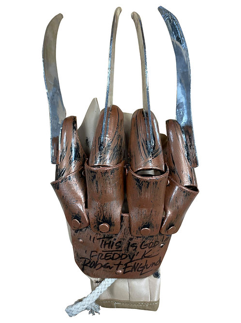 Freddy Krueger Plastic Glove This Is God Black Signed by Robert Englund