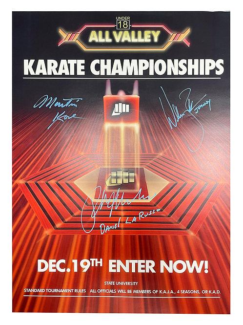 A2 Karate Kid Poster Signed by Ralph Macchio, William Zabka & Martin Kove