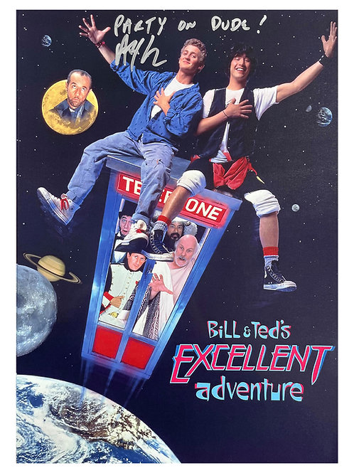 A3 Bill & Ted's Excellent Adventure Party On Poster Signed by Alex Winter