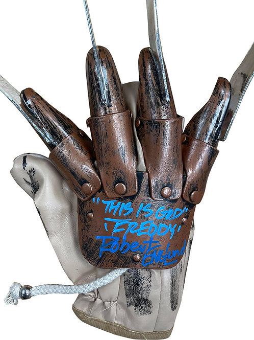 Freddy Krueger Plastic Replica Glove This Is God Blue Signed by Robert Englund