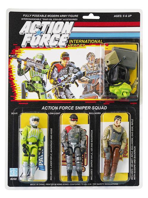 Action Force / GI Joe AF Sniper Squad Sci-Fi, Low-Light, Bullhorn MOC Custom
