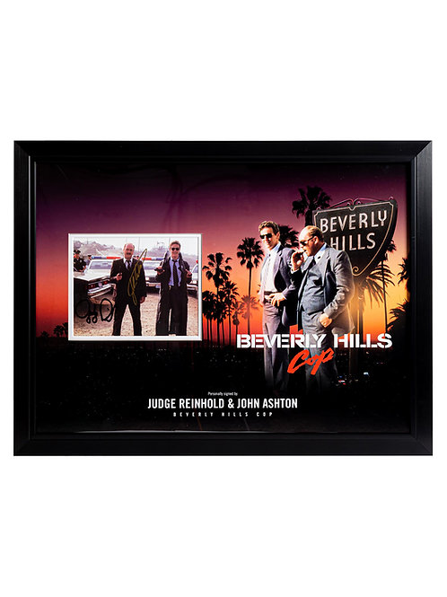 Beverly Hills Cop Framed Print Signed by Judge Reinhold and John Ashton