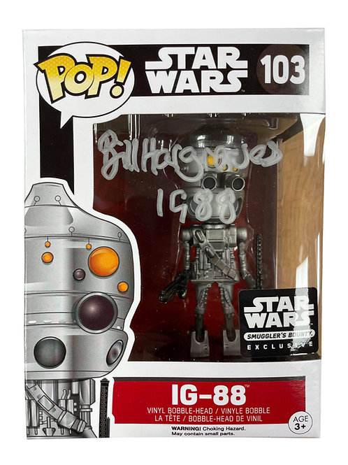 IG-88 Packaged Funko Pop Figure Signed In Silver Pen By Bill Hargreaves