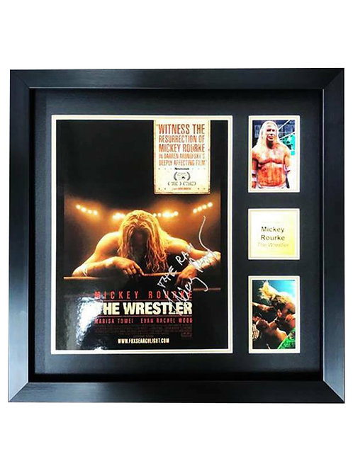 Framed The Wrestler Print Signed by Mickey Rourke