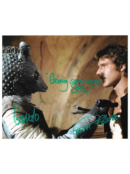 """10x8 Star Wars Greedo """"Going Somewhere Solo?"""" Green Print Signed by Paul Blake"""