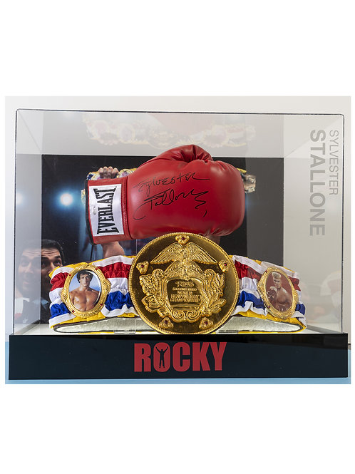 Boxed Rocky Boxing Glove & Title Belt Signed by Sylvester Stallone