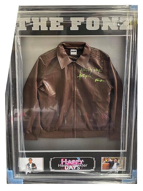 Framed Fonzie Replica Leather Jacket Signed by Henry Winkler
