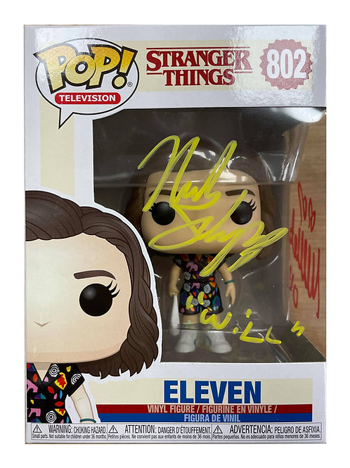 Stranger Things #843 Eleven Funko Signed by Millie Bobby Brown & Noah Schnapp