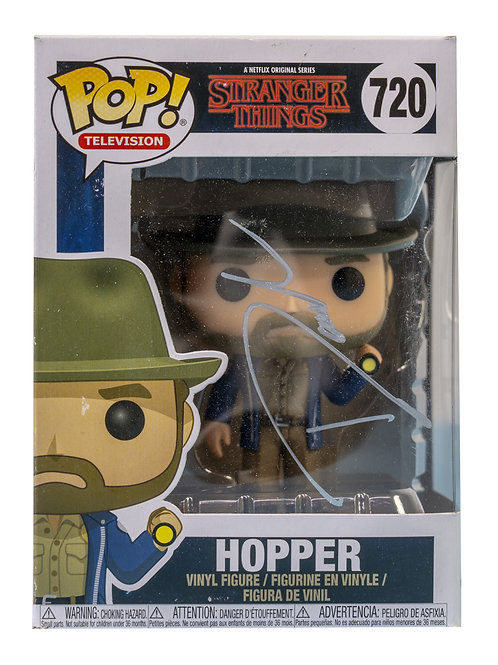 Chief Hopper Packaged Funko Pop Figure Signed By David Harbour