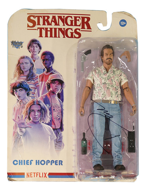 Stranger Things Hopper Packaged McFarlane Figure Signed By David Harbour