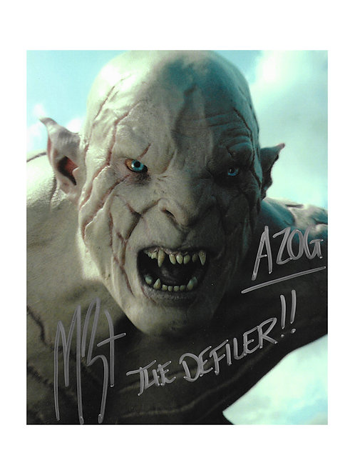 8x10 The Hobbit Azog The Defiler Print Signed by Manu Bennett