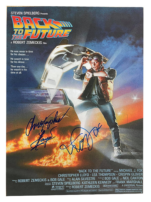 A3 Back to the Future Poster Signed in Blue by Michael J Fox, Christopher Lloyd