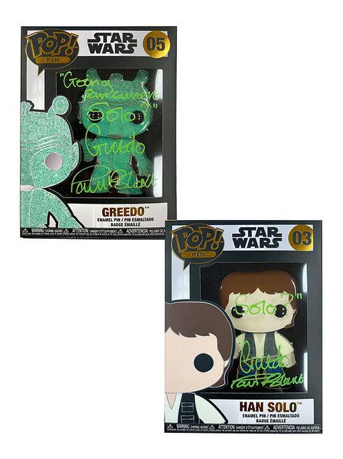 Glitter Greedo & Han Solo Star Wars Funko Pop Pin Badges Signed By Paul Blake