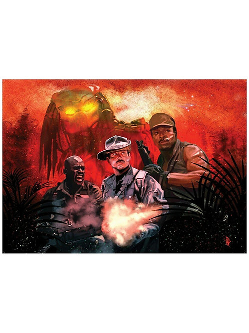 Ltd Ed. A2 Predator Illustrated Mac, Blain & Dillon Poster by Paul Butcher