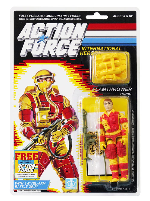 Action Force / GI Joe Flamethrower Torch MOC Custom With Sticker Offer
