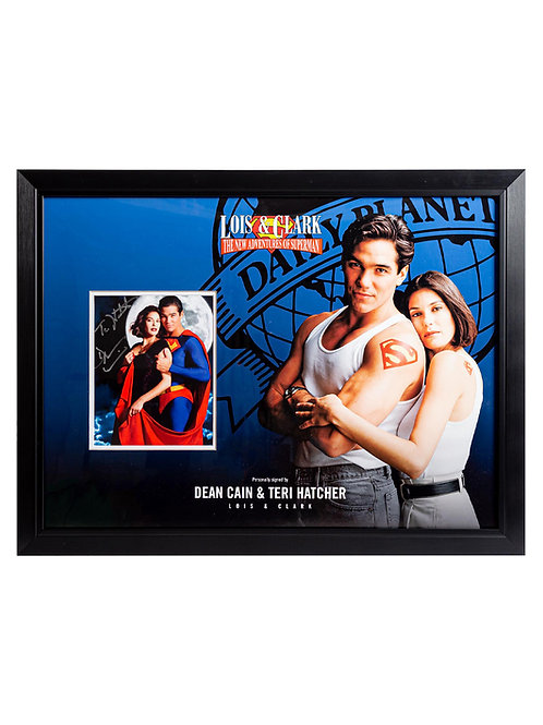 Lois and Clark Superman Framed Print Signed by Dean Cain and Teri Hatcher