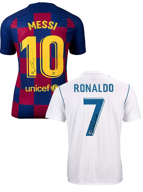 DOUBLE DEAL Cristiano Ronaldo & Lionel Messi Signed Shirts