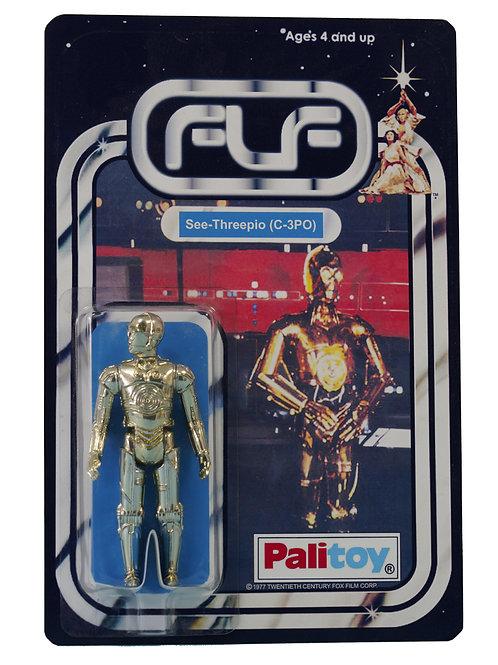 Vintage 1977 Star Wars See-Threepio C-3PO Figure On Custom Made FTLOT