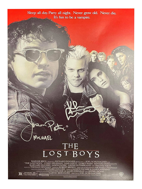 A3 The Lost Boys Poster Signed by Kiefer Sutherland & Jason Patric
