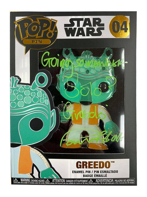 Greedo Star Wars Funko Pop Pin Badge Signed By Paul Blake
