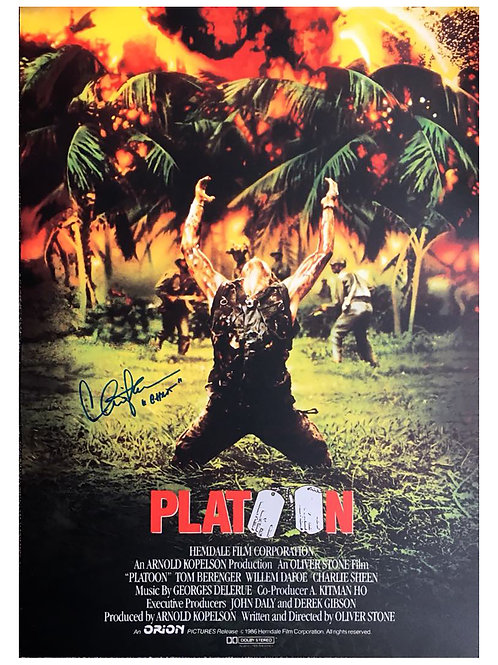 A2 Platoon Poster Signed by Charlie Sheen