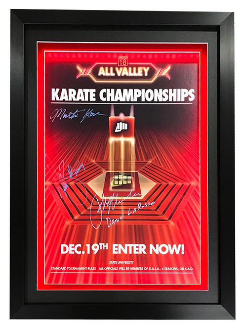 Framed LED Lit Karate Kid A2 Poster Signed by Macchio, Zabka and Kove