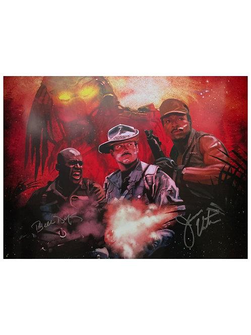 A2 Predator Illustrated Poster Signed By Jesse Ventura & Bill Duke