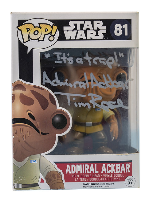 Admiral Ackbar Packaged Funko Pop Figure Signed By Tim Rose