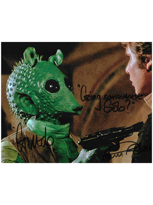 """10x8 Star Wars """"Going Somewhere Solo?"""" Black Greedo Print Signed by Paul Blake"""