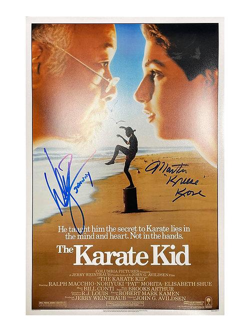 A3 Karate Kid Poster Signed by William Zabka & Martin Kove