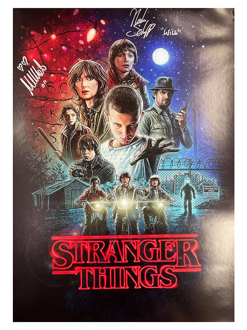 A2 Stranger Things Signed Poster Signed by Millie Bobby Brown & Noah Schnapp