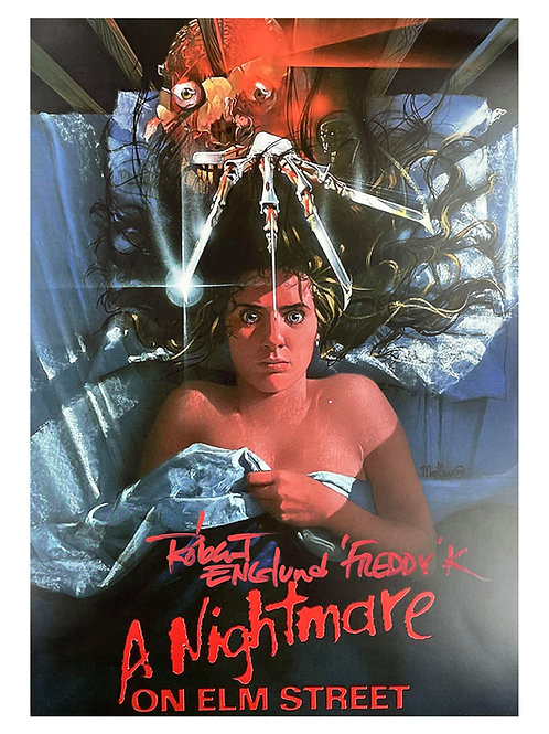 A3 Nightmare on Elm Street Poster Red Freddy K Quote Signed by Robert Englund