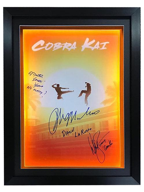 Framed LED Lit Cobra Kai A2 Poster Signed by Macchio, Zabka and Kove