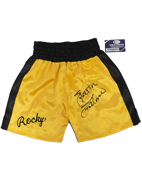 Gold Rocky Boxing Shorts Signed by Sylvester Stallone